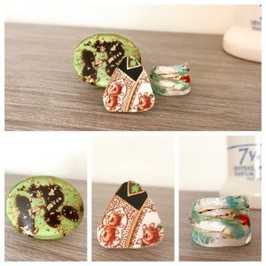 Bundle of 3 Colorful Vintage Rings